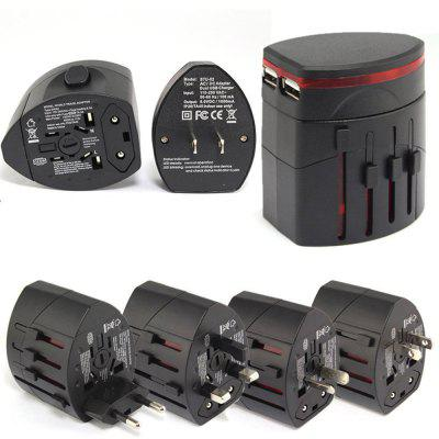 Travel Adapter Universal Travel Plug With Dual USB Ports, All in one Safety Travel Wall Charger Converter UK,US,EU,AU