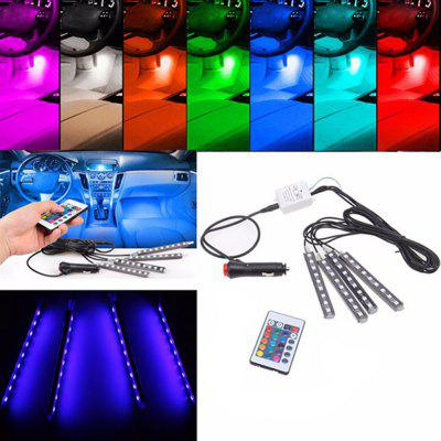 4 in 1 Multi Color Car Neon Light Atmosphere Lamps Wireless Remote Control Interior Floor Pathway Strip LightsCar Headlights<br>4 in 1 Multi Color Car Neon Light Atmosphere Lamps Wireless Remote Control Interior Floor Pathway Strip Lights<br><br>Apply To Car Brand: Universal<br>Emitting color: Multi-color<br>Lumen: 100lm<br>Package Contents: 4 x LED Strip Light (with cigarette lighter plug),  1 x Remote control,  1 x Retail box<br>Package size (L x W x H): 28.00 x 10.00 x 4.00 cm / 11.02 x 3.94 x 1.57 inches<br>Package weight: 0.2800 kg<br>Product size (L x W x H): 13.00 x 8.50 x 3.00 cm / 5.12 x 3.35 x 1.18 inches<br>Product weight: 0.2000 kg<br>Voltage: 12V
