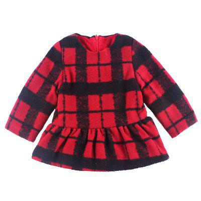 Girl'S Spring - Fall Red Checked Long Sleeve Dress