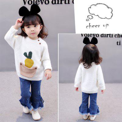 Girl Cartoon Radish Pattern Long-Sleeve Round Neck Sweater baby girls knitted sweater clothing dress 2017 autumn winter new long sleeve cute cartoon pattern girl dress children clothes