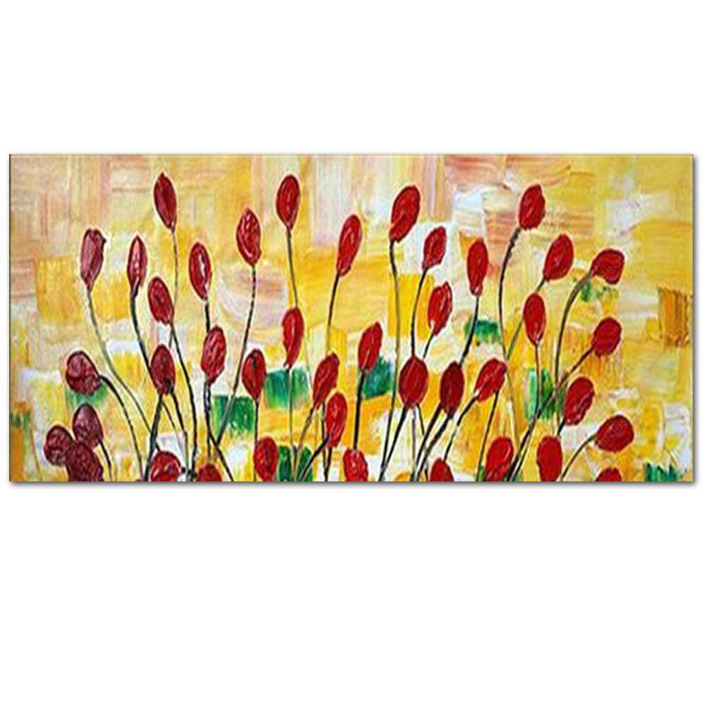 Pure Hand Painted Red Poppy Flower Thick Texture Oil Painting on ...