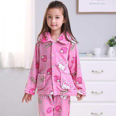 Spring and Autumn Flannel Children S Pajamas Set Strawberry Rabbit Pattern Warm Home SuitGirls sleepwear<br>Spring and Autumn Flannel Children S Pajamas Set Strawberry Rabbit Pattern Warm Home Suit<br><br>Closure Type: Single Breasted<br>Clothing Length: Regular<br>Collar: Turn-down Collar<br>Embellishment: Pockets<br>Gender: Girls<br>Material: Cotton Blends<br>Package Contents: 1 x Coat,1 x Trousers<br>Pattern Type: Character<br>Season: Spring/Fall<br>Shirt Length: Regular<br>Sleeve Length: Full<br>Sleeve Style: Regular<br>Style: Cute<br>Type: Wide-waisted<br>Weight: 0.3000kg
