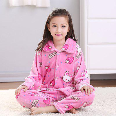 Spring and Autumn Flannel Children 'S Pajamas Set Strawberry Rabbit Pattern Warm Home Suit от GearBest.com INT