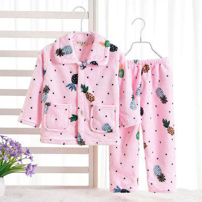 Spring and Autumn Flannel Children 'S Pajamas Set Pink Pineapple Pattern Warm Home Suit children s clothing new spring and autumn 2015 children s skirt suit children s three piece children s suits
