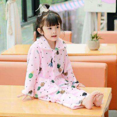 Spring and Autumn Flannel Children 'S Pajamas Set Pink Pineapple Pattern Warm Home Suit от GearBest.com INT
