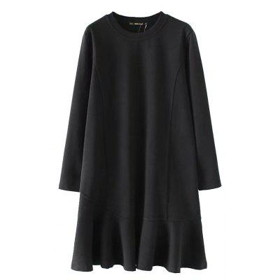 Buy Long Sleeved Fish Tail Dress BLACK S for $31.84 in GearBest store