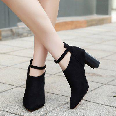 Thick Heels Fashion Buckle BootsWomens Boots<br>Thick Heels Fashion Buckle Boots<br><br>Boot Height: Ankle<br>Boot Type: Fashion Boots<br>Closure Type: Zip<br>Gender: For Women<br>Heel Type: Chunky Heel<br>Package Contents: 1xShoes(pair)<br>Pattern Type: Solid<br>Season: Spring/Fall, Winter, Summer<br>Toe Shape: Pointed Toe<br>Upper Material: Flock<br>Weight: 1.1200kg
