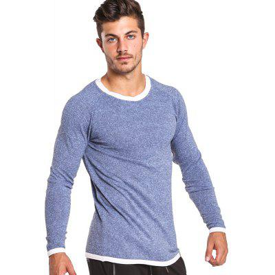 Buy BLUE S Taddlee Long Sleeve T Shirt Men Solid Color Soft O Neck Sweatshirt Basic Active Stretch Apparel Hip Hop Street Casual for $20.99 in GearBest store