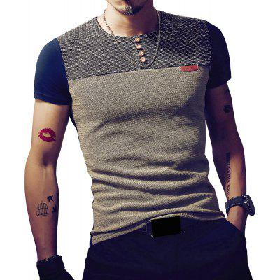 Men'S Casual Patchwork Short Sleeve T Shirt Casual Slim Fit Hip-Hop Top Tees
