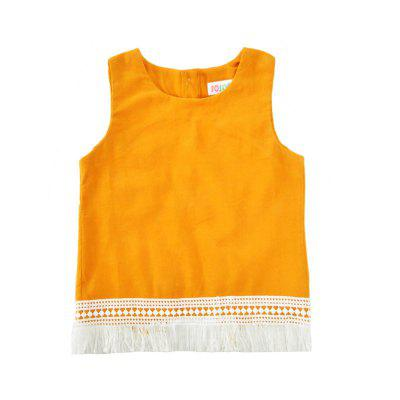 SOSOCOER Kids Girls Clothes Set Yellow Sleeveless Tassel T-Shirt and Flower Printing Shorts Two PiecesGirls clothing sets<br>SOSOCOER Kids Girls Clothes Set Yellow Sleeveless Tassel T-Shirt and Flower Printing Shorts Two Pieces<br><br>Brand: SOSOCOER<br>Collar: Round Neck<br>Material: Cotton, Polyester<br>Package Contents: 1 x T-shirt, 1 x Pair of Pants<br>Pattern Type: Floral<br>Shirt Length: Regular<br>Sleeve Length: Sleeveless<br>Style: Sweet<br>Weight: 0.1200kg