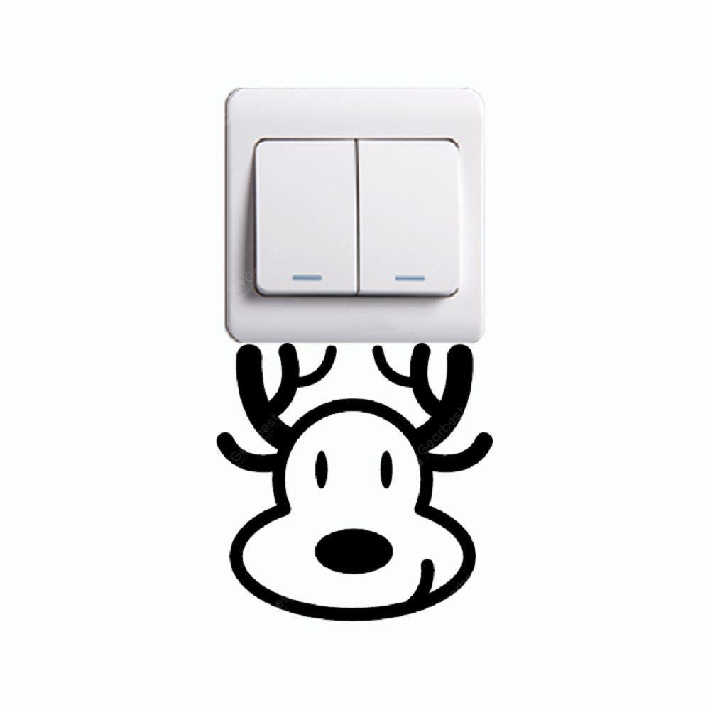 DSU Cute Cow Light Switch Sticker Cartoon Animal Vinyl Wall Sticker for Kids Room