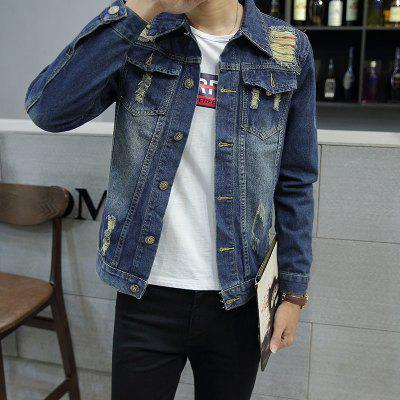 Men Hole Slim Lapel Coat JacketMens Jackets &amp; Coats<br>Men Hole Slim Lapel Coat Jacket<br><br>Clothes Type: Jackets<br>Collar: Turn-down Collar<br>Fabric Type: Denim<br>Material: Jeans<br>Package Contents: 1 x Jacket<br>Season: Spring, Summer, Fall, Winter<br>Shirt Length: Regular<br>Sleeve Length: Long Sleeves<br>Style: Casual<br>Weight: 0.4900kg
