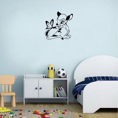 DSU  Cartoon Bambi Deer With Butterfly Wall Sticker Cute Animal Vinyl Wall DecalWall Stickers<br>DSU  Cartoon Bambi Deer With Butterfly Wall Sticker Cute Animal Vinyl Wall Decal<br><br>Brand: DSU<br>Function: 3D Effect, Decorative Wall Sticker, Light Switch Stickers<br>Material: Vinyl(PVC)<br>Package Contents: 1 x Wall Sticker<br>Package size (L x W x H): 30.00 x 2.00 x 2.00 cm / 11.81 x 0.79 x 0.79 inches<br>Package weight: 0.0700 kg<br>Product size (L x W x H): 27.50 x 27.10 x 0.10 cm / 10.83 x 10.67 x 0.04 inches<br>Product weight: 0.0400 kg<br>Quantity: 1<br>Subjects: Fashion,Others<br>Suitable Space: Living Room,Bedroom<br>Type: Plane Wall Sticker, 3D Wall Sticker