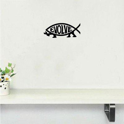 Dsu creative evolve darwin fish die cut wall sticker cartoon animal vinyl wall decal