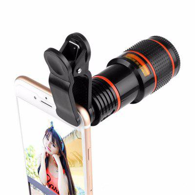 12x Zoom Optical Telescope Portable Mobile Phone Telephoto Camera Lens and Clip for iPhone / Samsung / Huawei / Xiaomi pickogen he 077 uv fisheye macro wide angle camera lens with led for iphone samsung pink