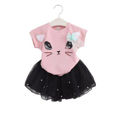 Buy Summer Girl Clothes Cat T-Shirt Short Skirt Suit For 2 6 Y Children Clothing Set, BLACK, Baby & Kids, Girls' Clothing, Girl's clothing sets for $13.17 in GearBest store
