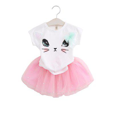Buy Summer Girl Clothes Cat T-Shirt Short Skirt Suit For 2 6 Y Children Clothing Set, PINK, 6T, Baby & Kids, Girls' Clothing, Girl's clothing sets for $13.45 in GearBest store