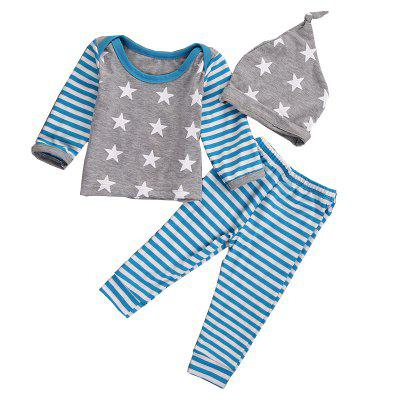 Spring Autumn Newborns Baby Clothing Stars Striped Three-Piece Long-Sleeved Baby Boy Clothes Children'S Suit