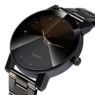 Black Montres Pour Homme Colck Style Watch Stainless Steel Leather Strap Man Quartz Analog Wrist Watch