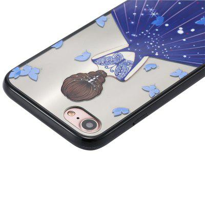 Case for iPhone 8 Non-slip Embossed Back of Beauty Blue Butterfly Pattern
