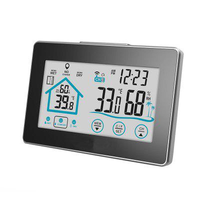 LCD Touch Digital Thermometer Wireless Sensor Indoor / Outdoor Humidity Meter Hygrometer Clock Weather Station