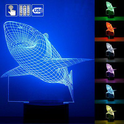 3D Night Lamp Colorful Shark Shape Touch Control Light 7 Colors Change USB LED for Desk Table