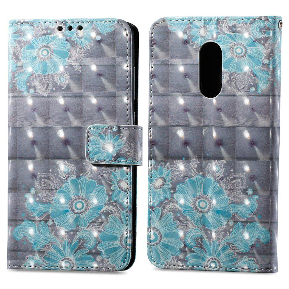 3D Painting Filp Case for Xiaomi Redmi Note 4 / 4X Blue Flower Pattern PU Leather Wallet Stand Cover