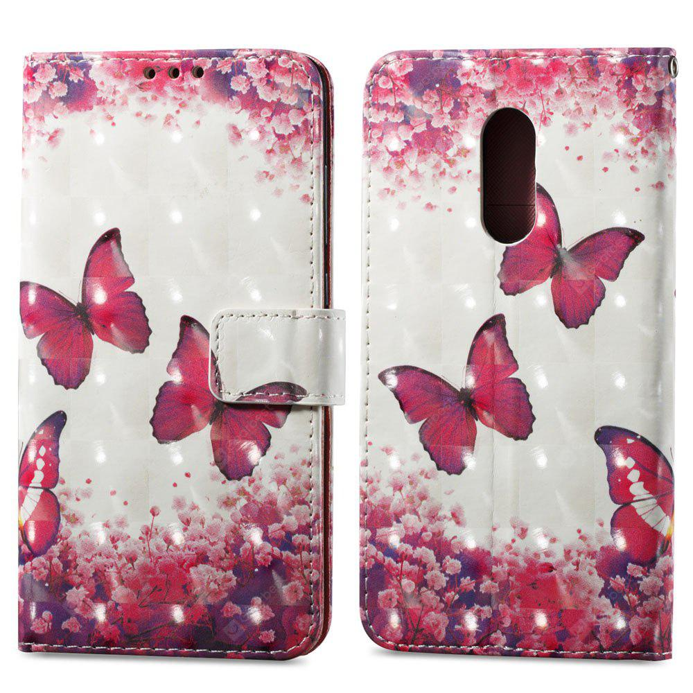 Capa de pintura 3D para Xiaomi Redmi Note 4 / 4X Red Butterfly Pattern PU Leather Wallet Stand Cover