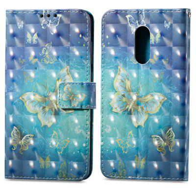 3D Painting Filp Case for Xiaomi Redmi Note 4 / 4X Golden Butterfly Pattern PU Leather Wallet Stand Cover