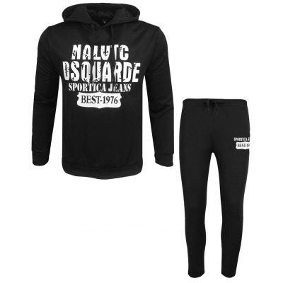 Men's Spring Autumn Long-Sleeved Hoodie and Cap-Print Leper Pantsuit Casual Sport Pants Two Suits