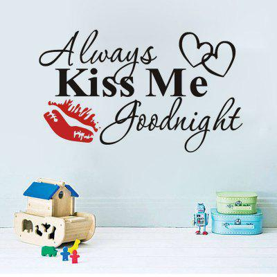 Wall Stickersr Valentines Day New  Red Lips Always Kiss Me Can Remove  Decal Art Deco always kiss me goodnight letters patterned wall decal