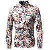 Men'S Flower Long Sleeved Shirt - KHAKI