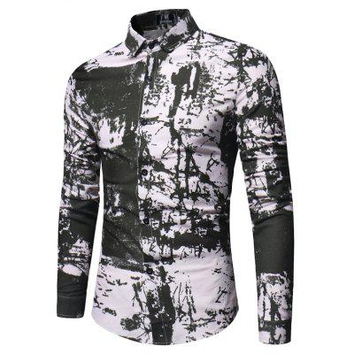 The New Spring Hit A Long Sleeved Color Camouflage Mens Shirt