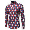 Spring New Men'S Casual Color Diamond Lattice Shirt - RED