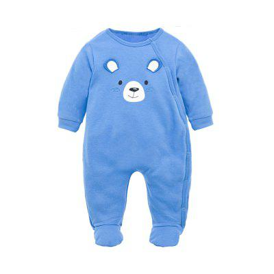 Wuawua Baby Rompers Long Sleeve Cotton Bear Embroidered Romper