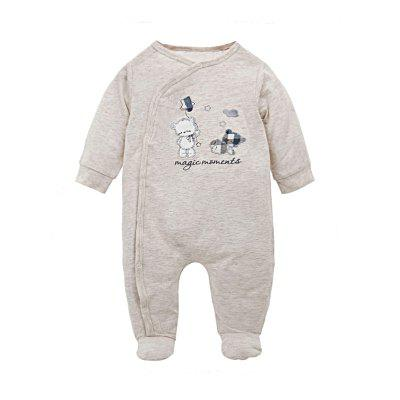Wuawua Baby Rompers Long Sleeve Cotton Lovely Bear Embroidered Romper