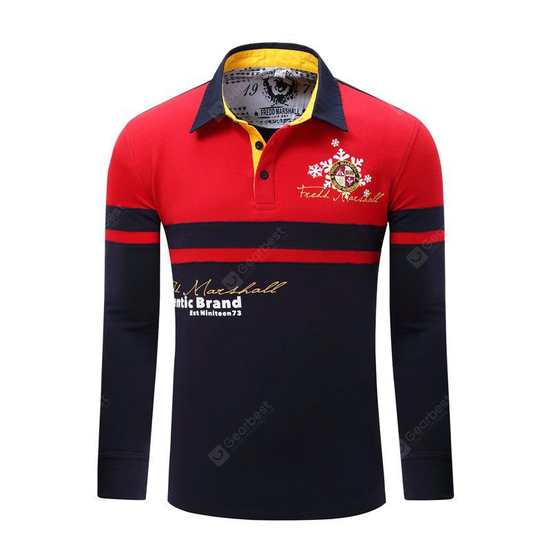 Fashionable and Casual Outdoor Splicing Mosaic of The Letter Embroidery Pure Cotton Lapel POLO Shirt