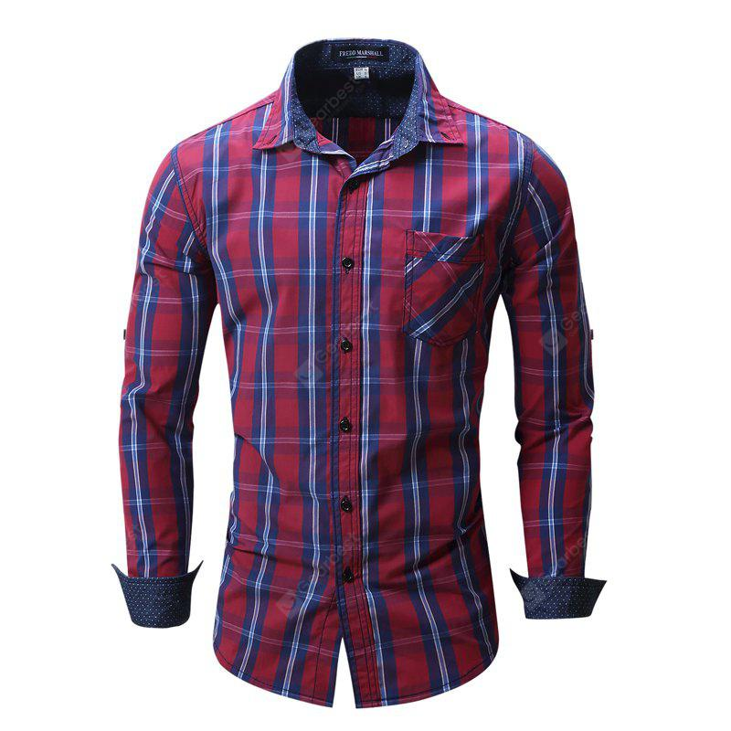 Plus Size Fashionable and Casual Outdoor Bang-Bang Checked Splicing Pot Point Pure Cotton Lapel Shirt