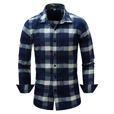 Plus Size Fashionable and Casual Banged Checked Cotton Collared Long-Sleeved Shirt