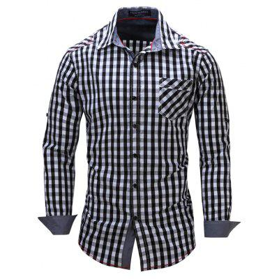 Fashionable Casual Banged Small Checked Cotton Collared Long-Sleeved Shirt