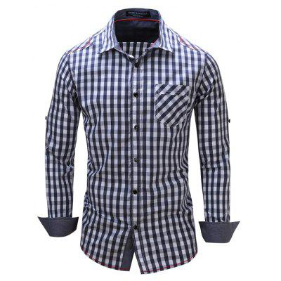 Plus Size Fashionable Casual Banged Small Checked Cotton Collared Long-Sleeved Shirt