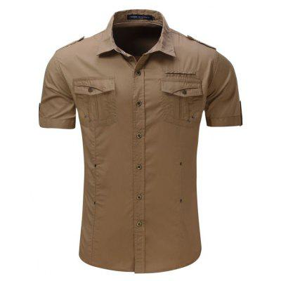Estilo Casual Air Travel Style Outdoor Pure algodón solapa camisa