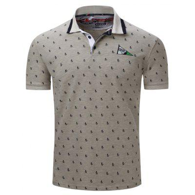 Fashion and Casual Color Spliced Printed Cotton Lapel POLO Shirt