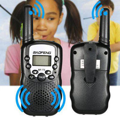 2PCS BAOFENG BF - T3 Wireless Walkie Talkie ( EU Version )  -  BLACKWalkie Talkies<br>2PCS BAOFENG BF - T3 Wireless Walkie Talkie ( EU Version )  -  BLACK<br><br>Brand: Baofeng<br>Channels: Under 20 Channel<br>Frequency Bands: UHF<br>Model Number: T3<br>Package Contents: 2 x T3 Walki Talkie, 1 x English Manual<br>Package Dimension: 10.00 x 9.00 x 8.00 cm / 3.94 x 3.54 x 3.15 inches<br>Package weight: 0.3000 kg<br>Product Dimension: 5.50 x 3.50 x 14.00 cm / 2.17 x 1.38 x 5.51 inches<br>Product weight: 0.2500 kg