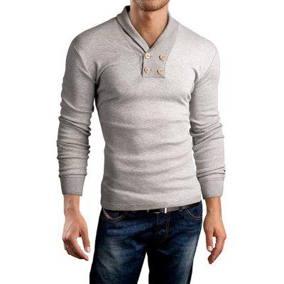 Buy Men's New Long Sleeve Small Lapel Design Casual Fashion T-Shirt LIGHT GRAY XL for $20.36 in GearBest store