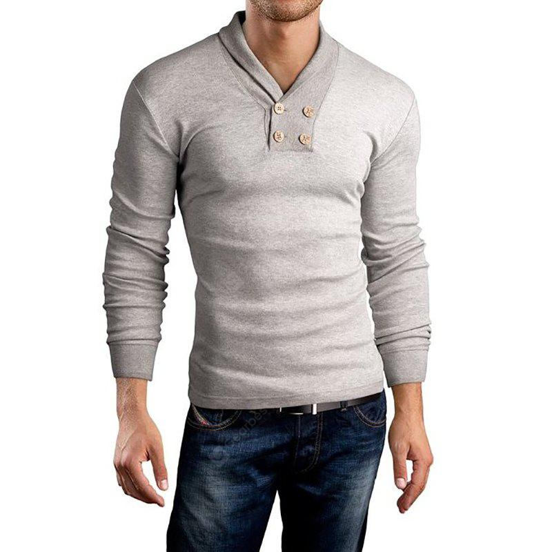 Men's New Long Sleeve Small Lapel Design Casual Fashion T-Shirt LIGHT GRAY L