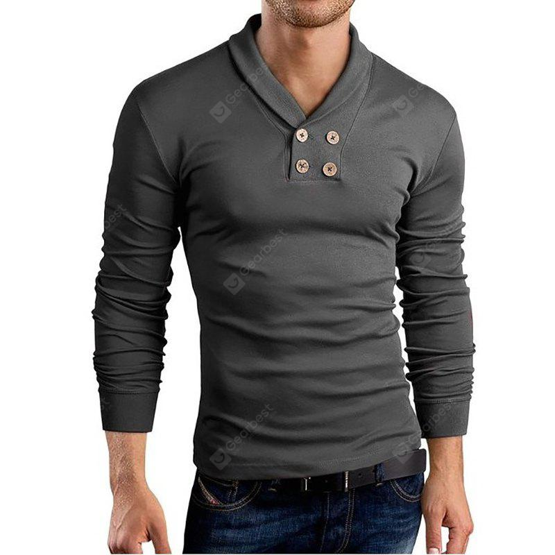 Men's New Long Sleeve Small Lapel Design Casual Fashion T-Shirt DEEP GRAY 2XL