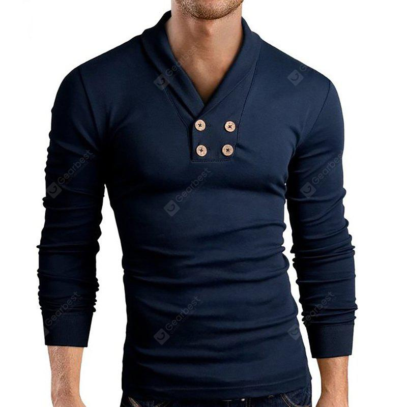 Men's New Long Sleeve Small Lapel Design Casual Fashion T-Shirt CADETBLUE L