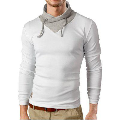 Buy WHITE L Men's New Self-Cultivation Long-Sleeved Triangular Lapel Design Fashion Casual T-Shirt for $13.32 in GearBest store