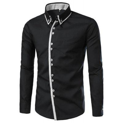 Men's New Plain Stitching Shirt Simple Casual Long-Sleeved Shirt